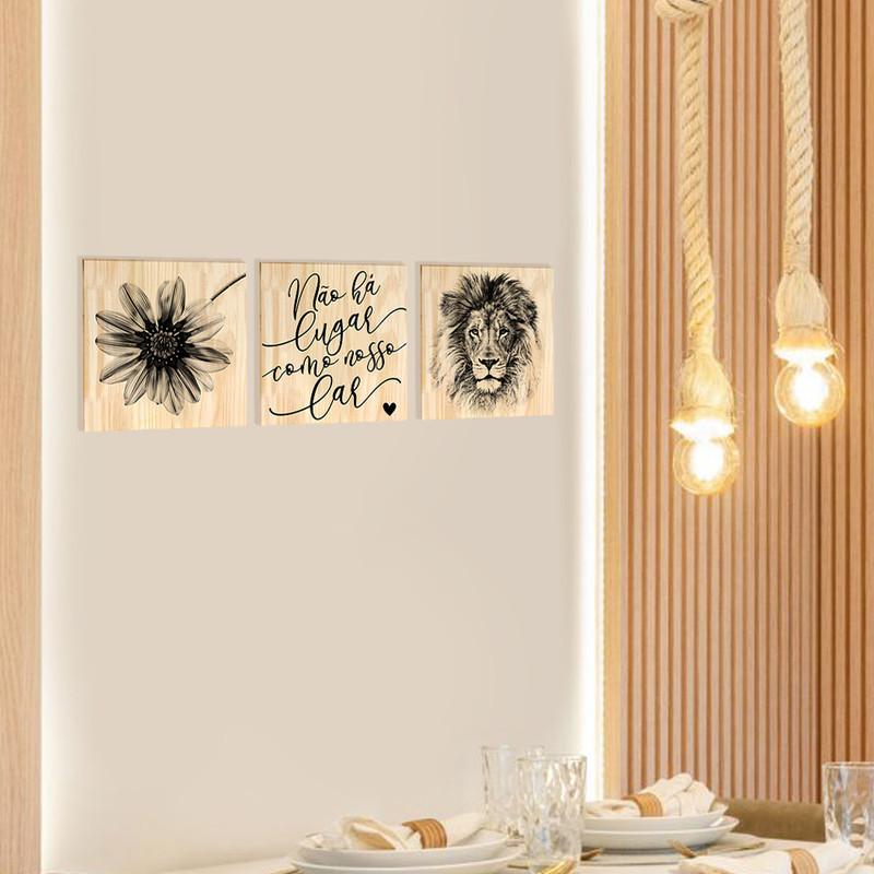 Kit 3 Quadros Decorativos Moderno com Moldura Pinus para Sala 20x20cm Flor Leão Lar Família - Hugart