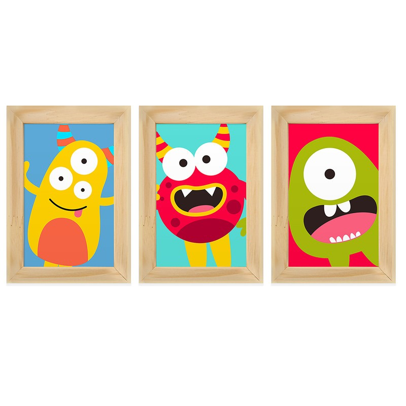 Kit 3 Quadros Decorativos Monstros Infantil 13X18