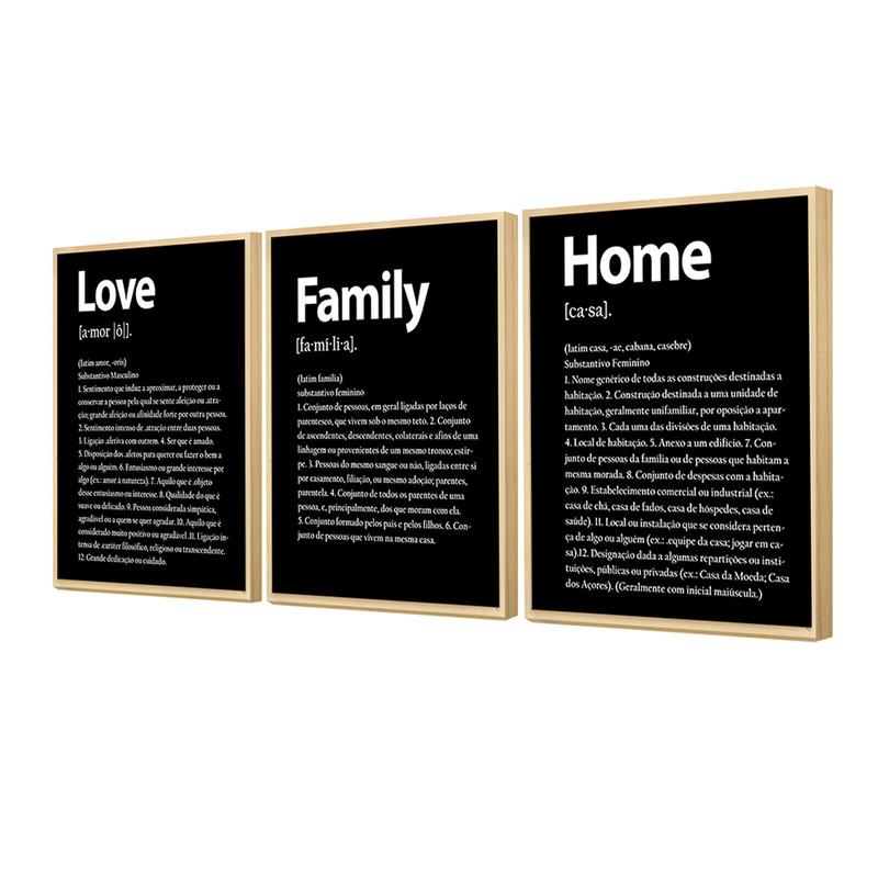 Kit 3 Quadros Decorativos para Corredor e Hall de Entrada 30x40cm Family Love Home Preto - Hugart