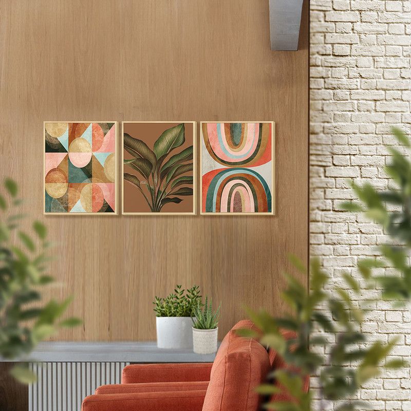 Kit 3 Quadros Decorativos para Cozinha Moldura Pinus 30x40cm Planta Geométrico Tons Marrom - Hugart