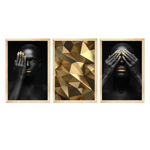 Kit 3 Quadros Decorativos para Escritório 30x40cm Gold Mulher Moderno Geométrico Luxo - Hugart