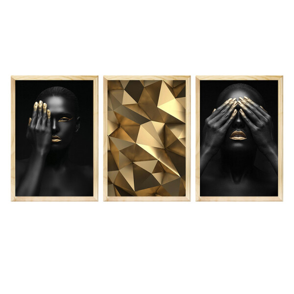 Kit 3 Quadros Decorativos para Hall de Entrada 40x60cm Dourado Black Mulher - Hugart