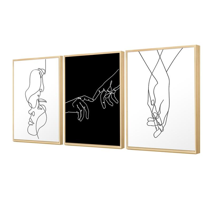 Kit 3 Quadros Decorativos para Quarto 30x40cm Casal Love Abstrato Minimalista Preto Branco - Hugart