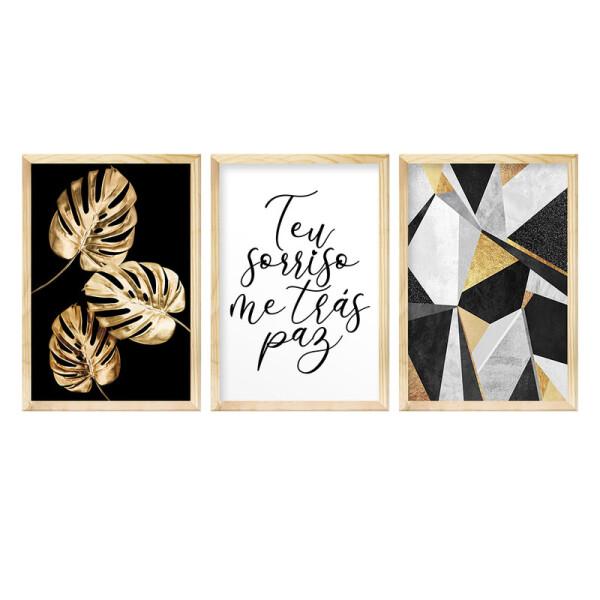 Kit 3 Quadros Decorativos para Quarto Casal 30x40cm Frase Amor Geométrico e Folhas Douradas - Hugart