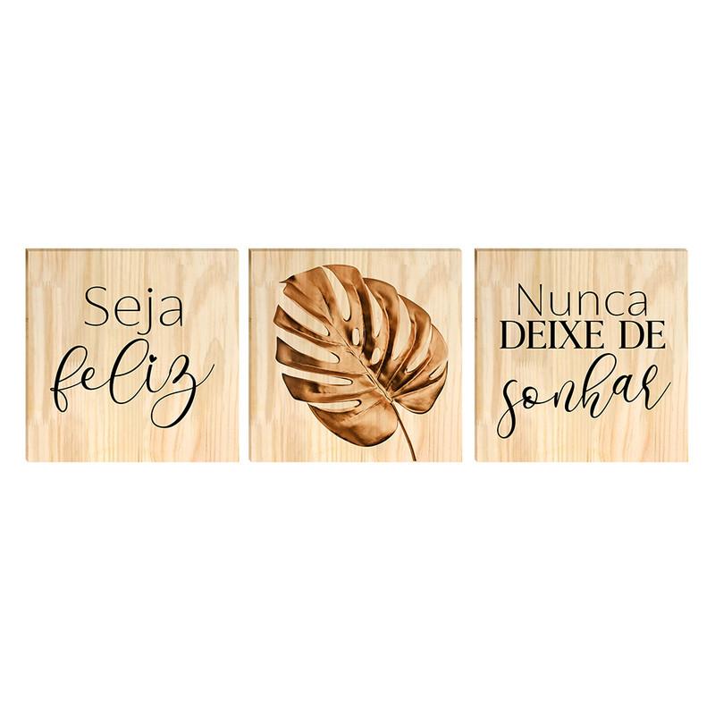 Kit 3 Quadros Decorativos para Quarto Casal Moldura Pinus 30x30cm Frase Dourado Folhas - Hugart