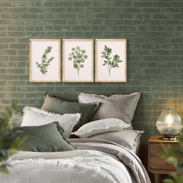 Kit 3 Quadros Decorativos para Quarto e Escritório 30x40cm Plantas Folhas Verde Natureza - Hugart