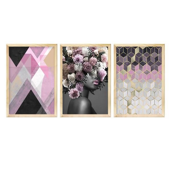 Kit 3 Quadros Decorativos para Sala 40x60cm Moldura Pinus Rose Mulher Flores Surreal - Hugart