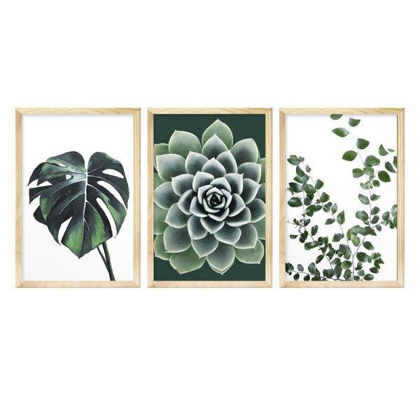 Kit 3 Quadros Decorativos para Sala de Jantar 30x40cm Folhagem Verde Jardim Natureza - Hugart
