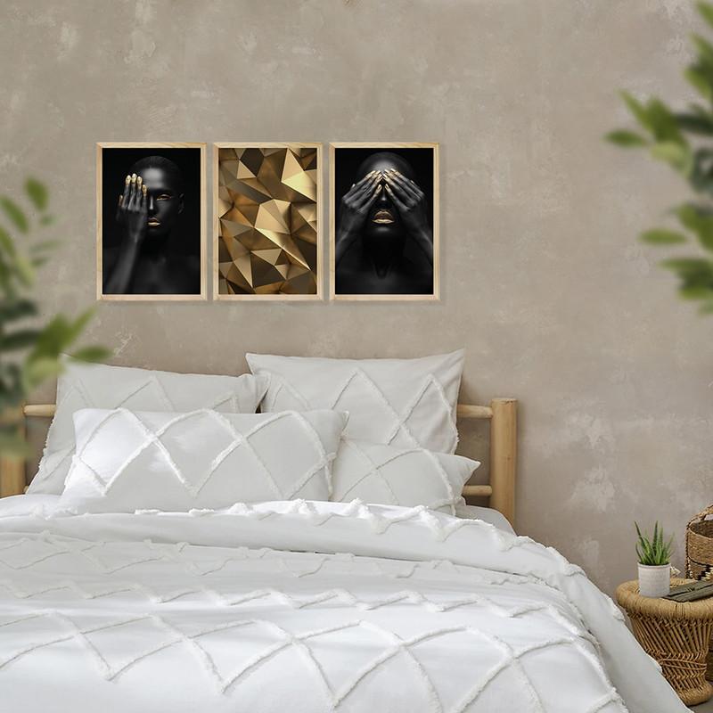 Kit 3 Quadros Decorativos para Sala Escritório 30x40cm Dourado Geométrico - Hugart