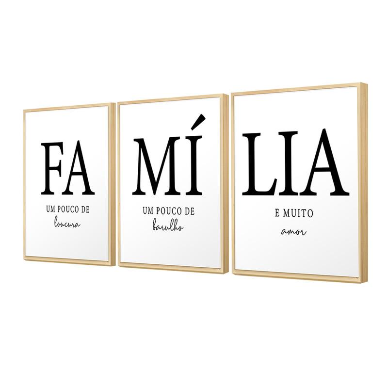 Kit 3 Quadros Decorativos para Sala Moldura Caixa 30x40cm Família Composição Trio Lar Amor - Hugart