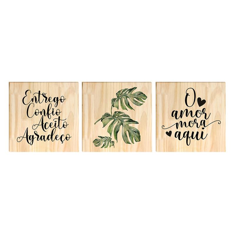 Kit 3 Quadros Decorativos para Sala Moldura Pinus 30x30cm Folhas e Frase Motivacional - Hugart