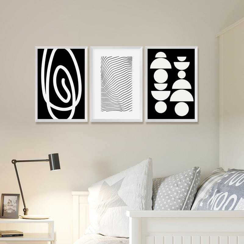 Kit 3 Quadros Decorativos Pequenos Minimalista 30x40cm Geométrico Preto e Branco Moderno - Hugart