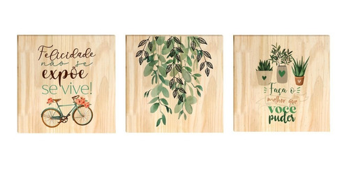 Kit 3 Quadros Decorativos Pinus Planta Felicidade Frase Sala