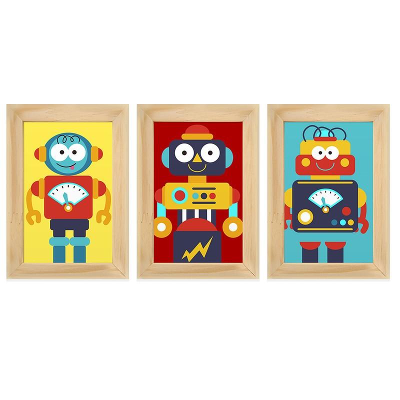 Kit 3 Quadros Decorativos Robôs Infantil 13X18
