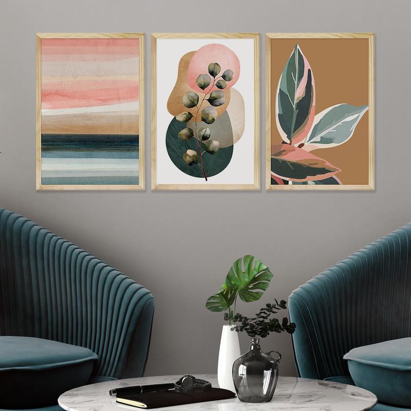 Kit 3 Quadros Decorativos Sala Estar 43x63 Moldura Pinus com Folhagens Plantas Coloridas - Hugart