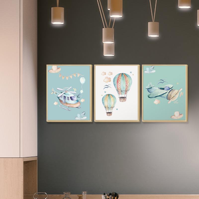 Kit 3 Quadros Decorativos Tema Infantil Quarto Bebe 30x40Cm Desenhos Azuis em Moldura Caixa - Hugart