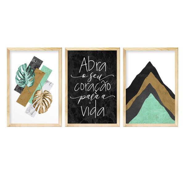 Kit 3 Quadros para Decoração de Corredor 30x40cm Frase Inspiração Folhas Verdes Abstrato - Hugart