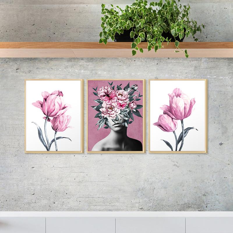 Kit 3 Quadros para Decoração de Quarto Casal 30x40cm Mulher Abstrato com Flores - Hugart