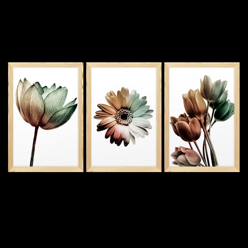 Kit 3 Quadros para Decoração Flores Moderno Sala Quarto
