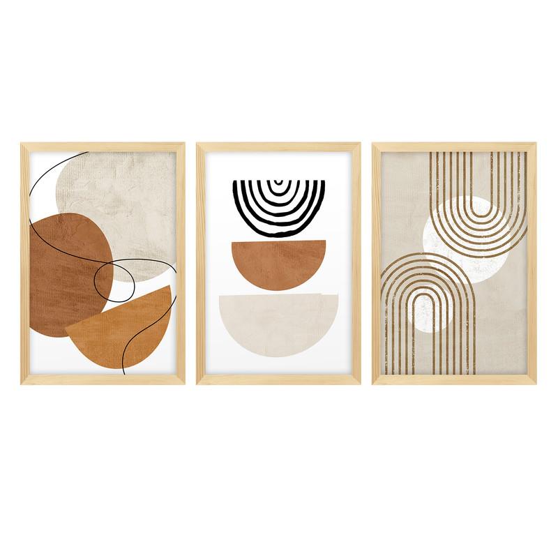 Kit 3 Quadros para Decoração Formas Minimalista Moderno Sala