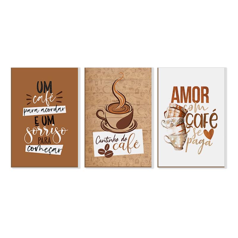 Kit 3 Quadros sem Moldura Cantinho do Café Amor Cozinha