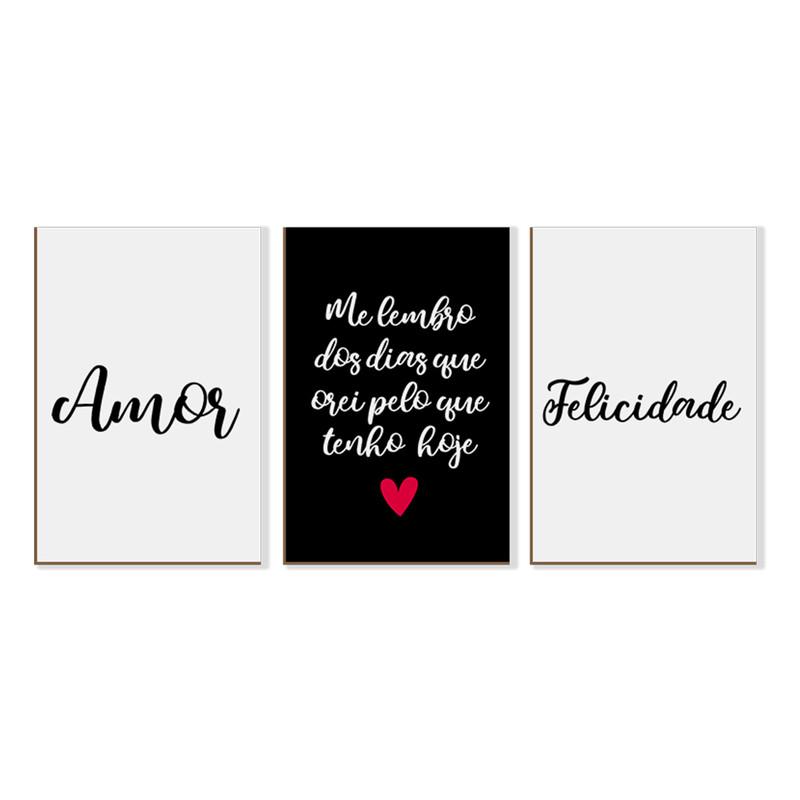 Kit 3 Quadros sem Moldura Frases Amor Felicidade Sala
