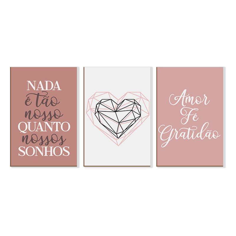 Kit 3 Quadros sem Moldura Frases Amor Gratidão Quarto