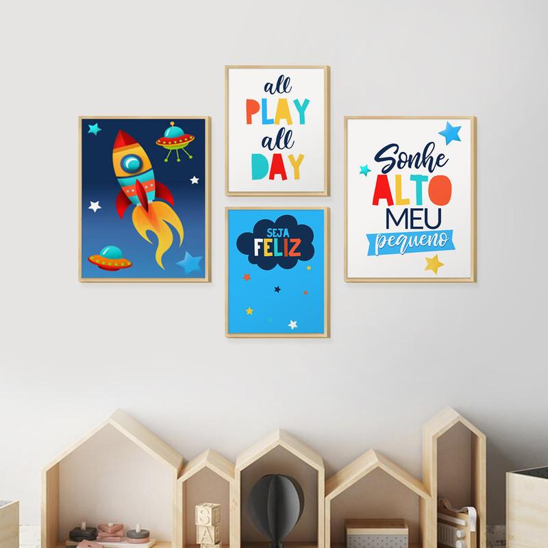 Kit 4 Quadros Decoração Ambiente Infantil Pequenos com Moldura Caixa Frases Coloridas - Hugart
