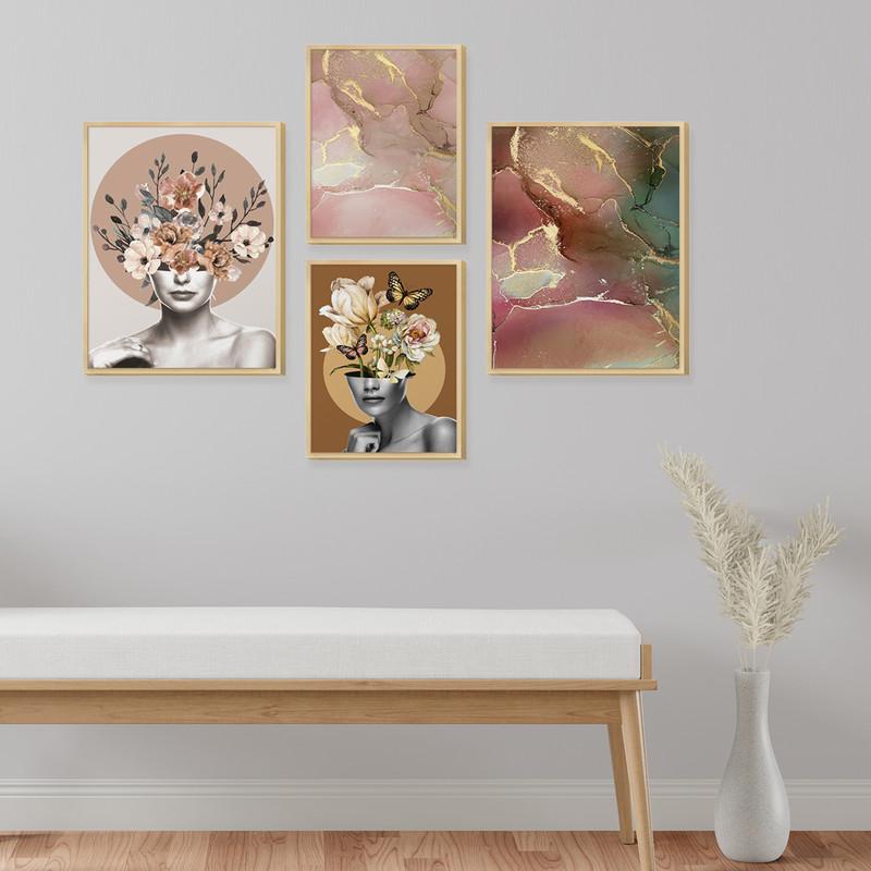 Kit 4 Quadros Decoração Ambiente Sala com Moldura Caixa e Mulher Abstrato Moderno Colorido - Hugart