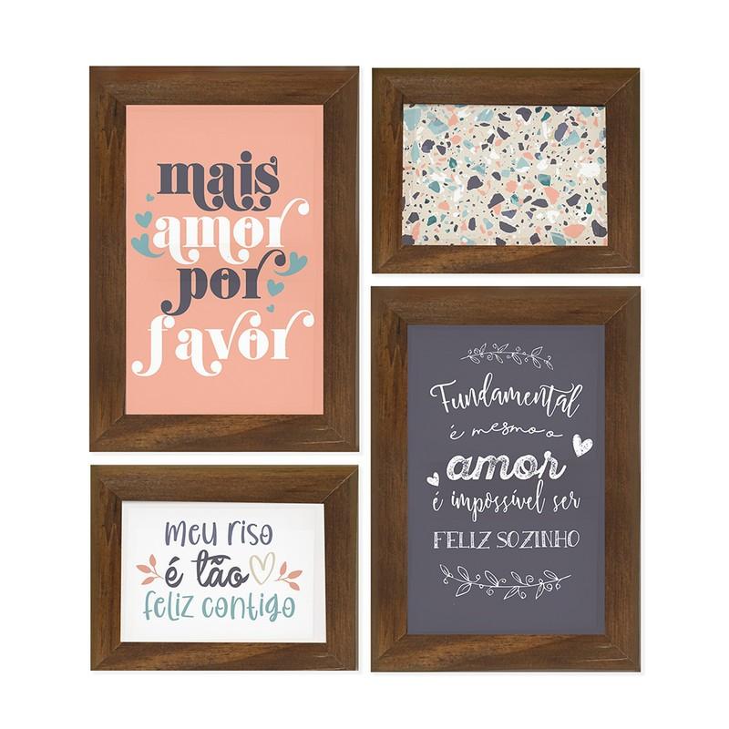 Kit 4 Quadros Decorativo Amor Casal Felicidade Frases