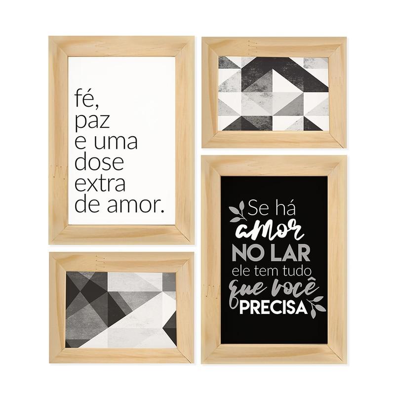 Kit 4 Quadros Decorativo Amor no Lar Fé Família Frases