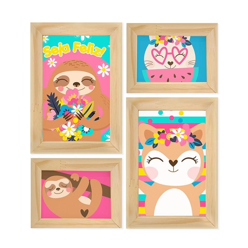Kit 4 Quadros Decorativo Animais Fofos Infantil