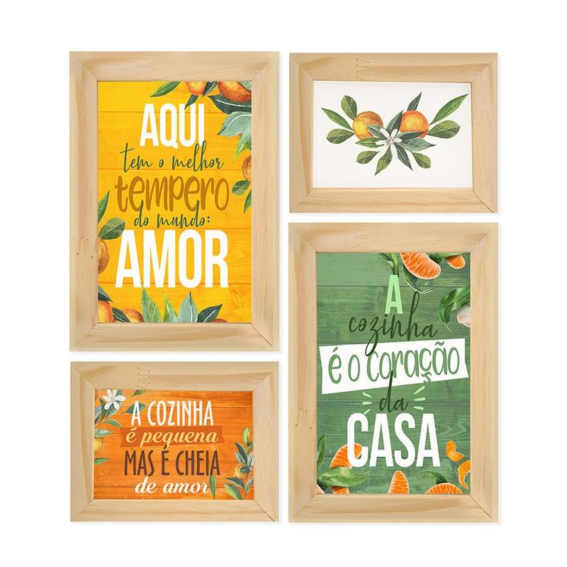 Kit 4 Quadros Decorativo Cozinha Tempero Amor