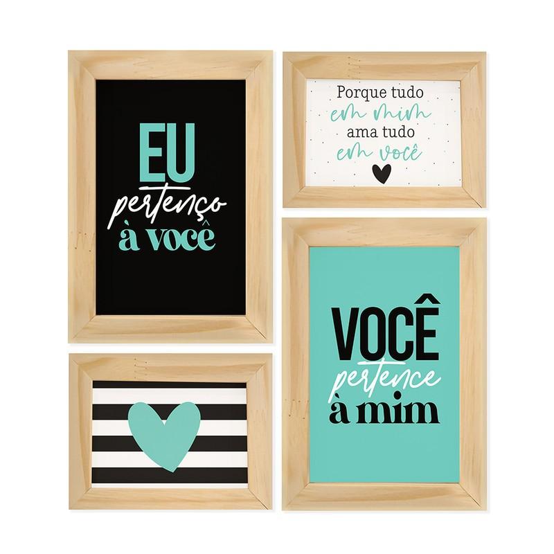 Kit 4 Quadros Decorativo Eu & Você Casal Namorados Amor