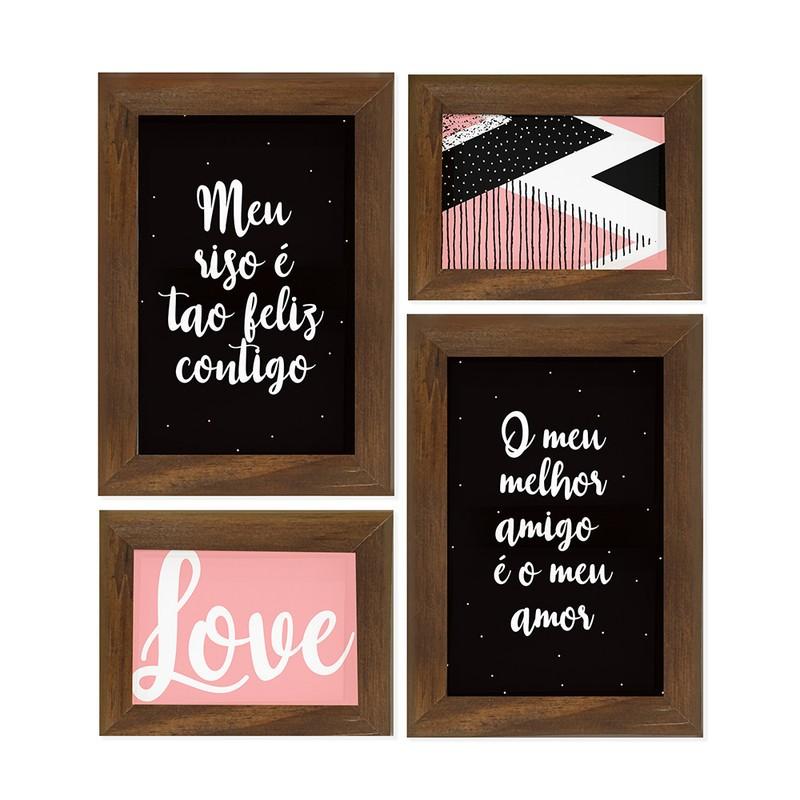Kit 4 Quadros Decorativo Frase Meu riso é tão feliz Amor