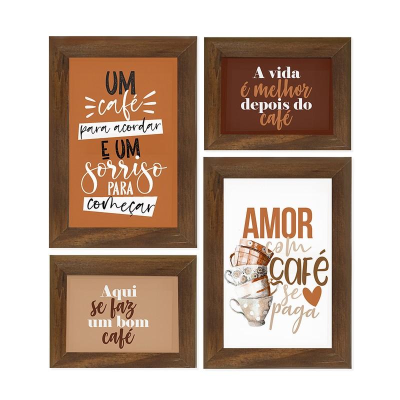 Kit 4 Quadros Decorativo Frases Café Amor