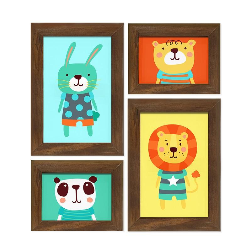 Kit 4 Quadros Decorativo Infantil Animais Fofos