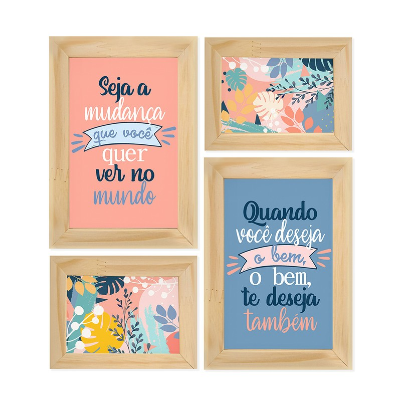 Kit 4 Quadros Decorativo Inspiração Mudança Flores