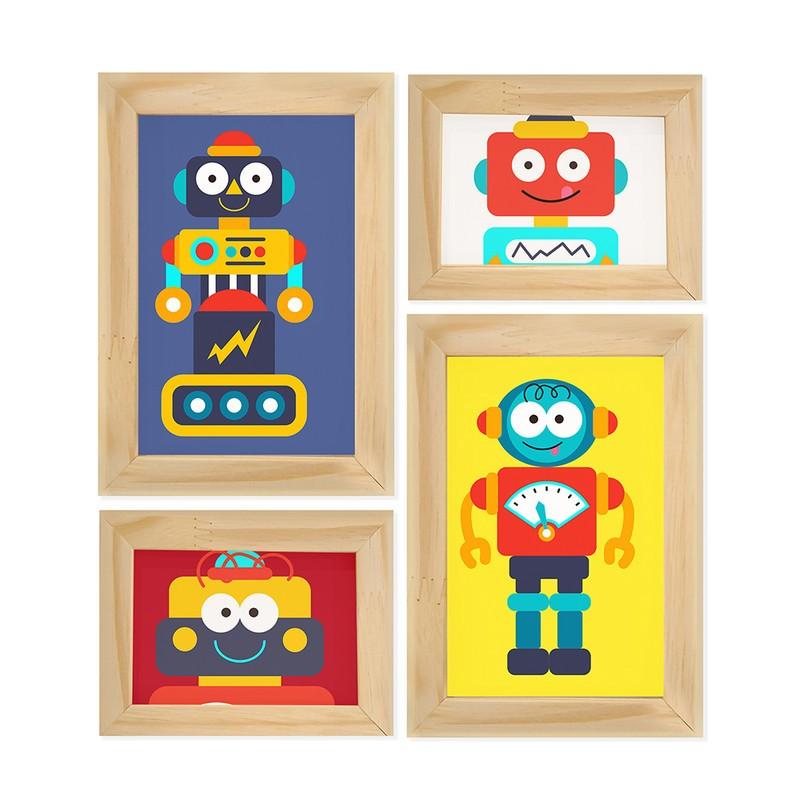 Kit 4 Quadros Decorativo Robôs