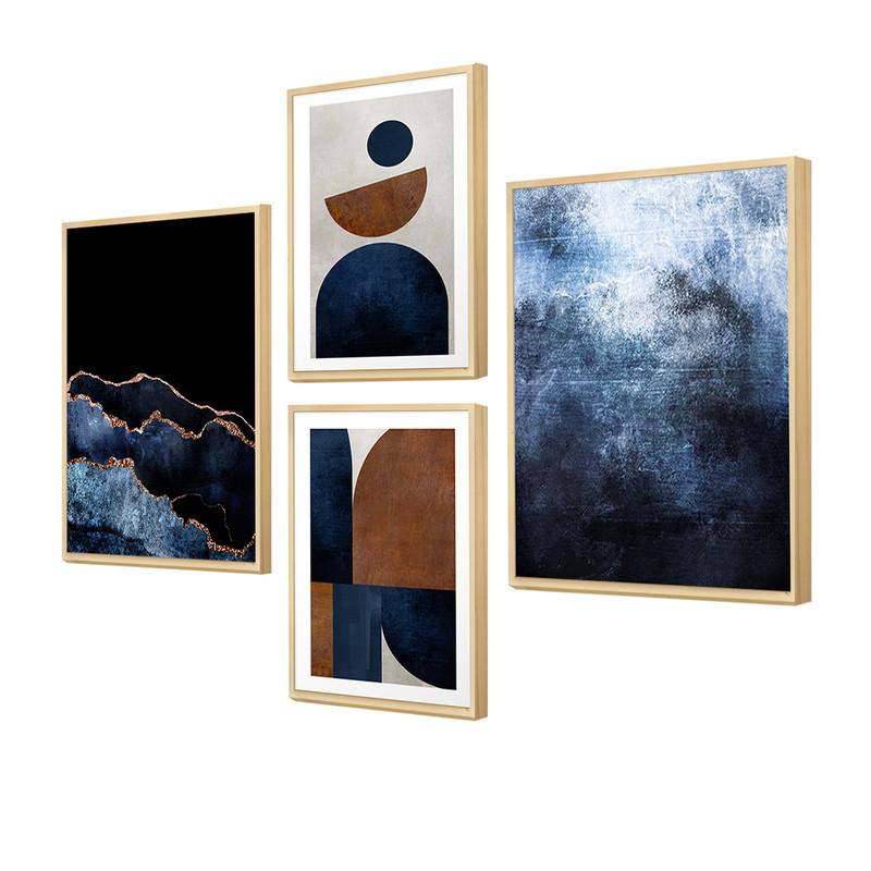 Kit 4 Quadros Decorativos Geométrico para Escritório 88x64cm Degradê Azul Moldura Caixa - Hugart