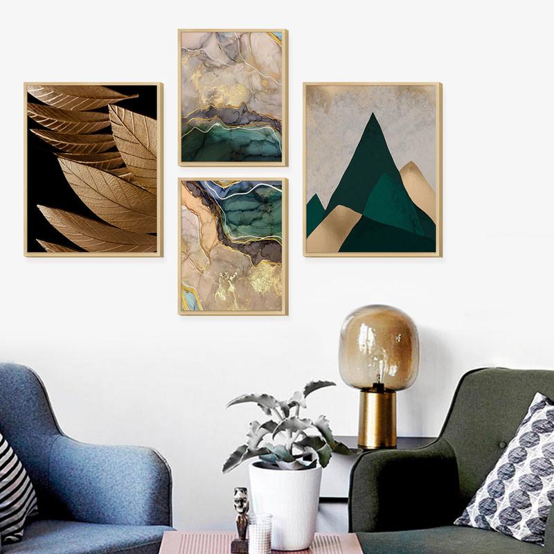 Kit 4 Quadros Decorativos para Ambientes de Escritório Folhas Douradas e Montanhas - Hugart