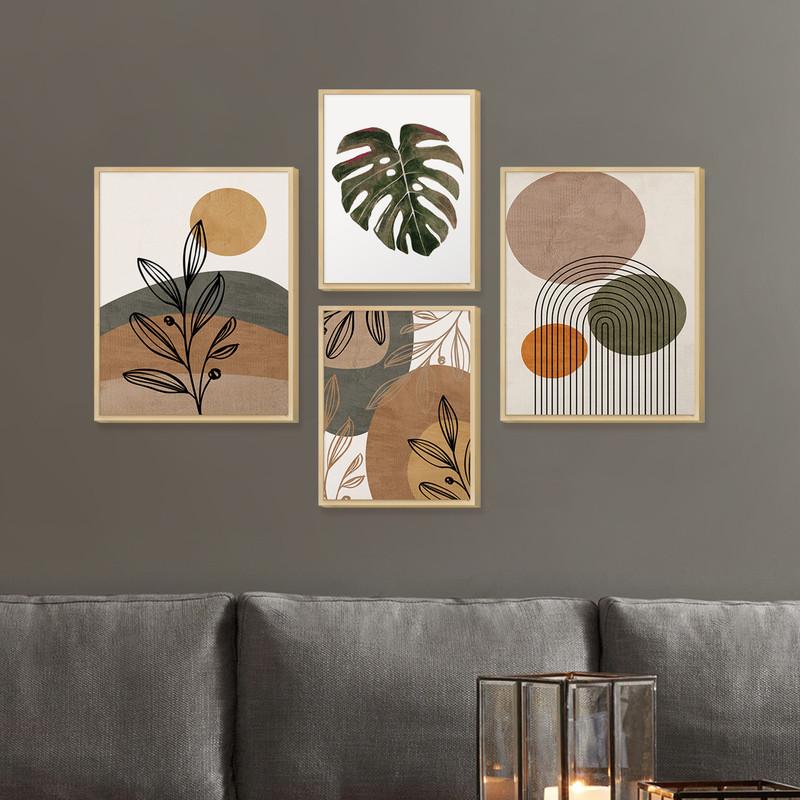 Kit 4 Quadros Decorativos para Cozinha com Moldura Caixa Plantas Formas Coloridas - Hugart