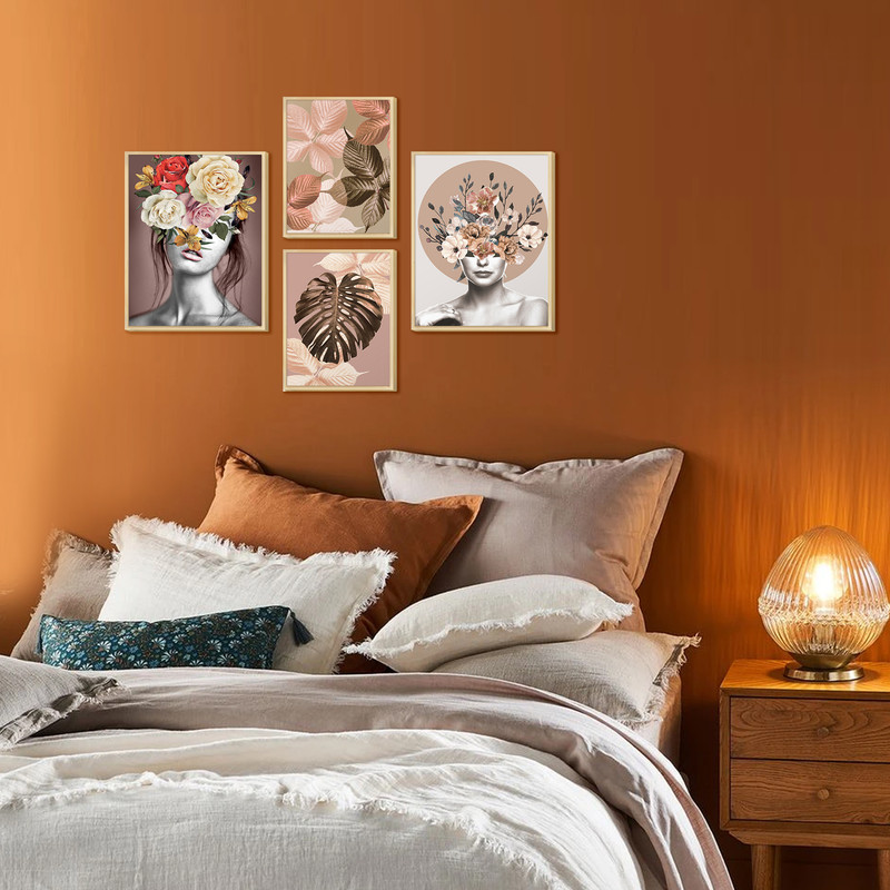 Kit 4 Quadros Decorativos para Quarto Casal 88x64cm Mulher Surreal Rosa Floral Colorido - Hugart