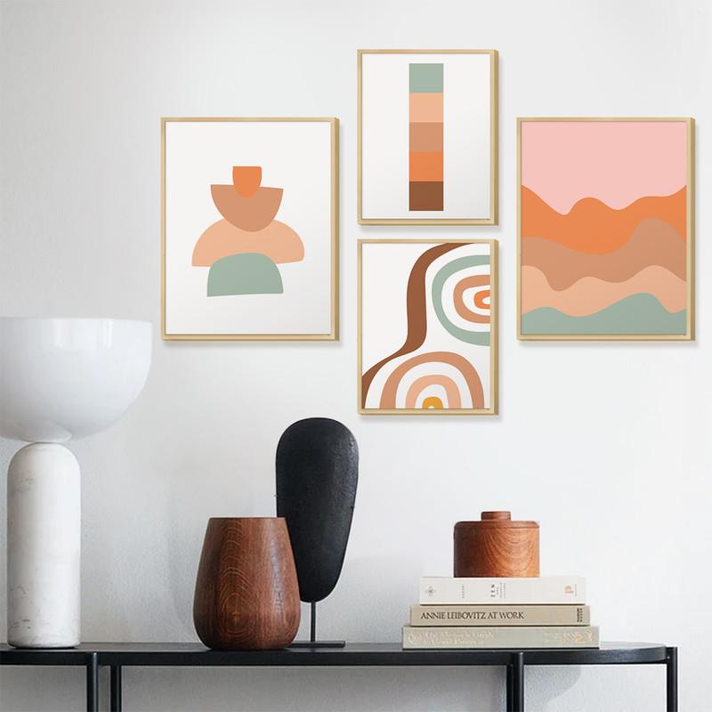 Kit 4 Quadros Decorativos para Quarto Formas Geométricas Delicado Colorido - Hugart