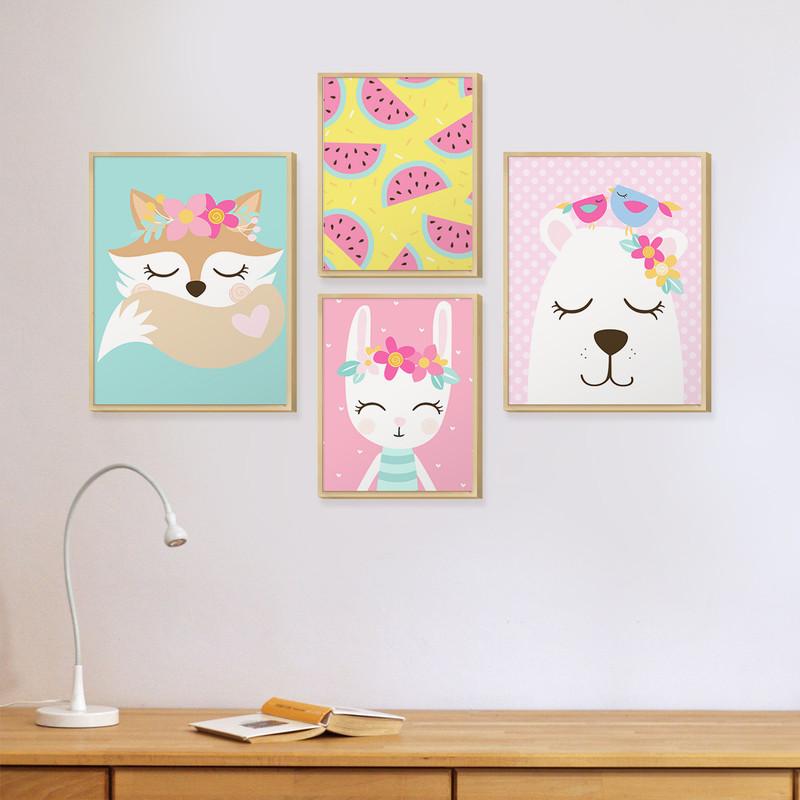 Kit 4 Quadros Infantil Decorativo para Quarto Moldura Caixa Animais Coloridos e Flores - Hugart