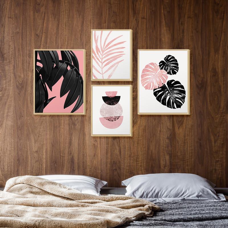 Kit 4 Quadros para Decoração Ambiente Sala Escritório Plantas Rosa e Preto Moldura Caixa - Hugart