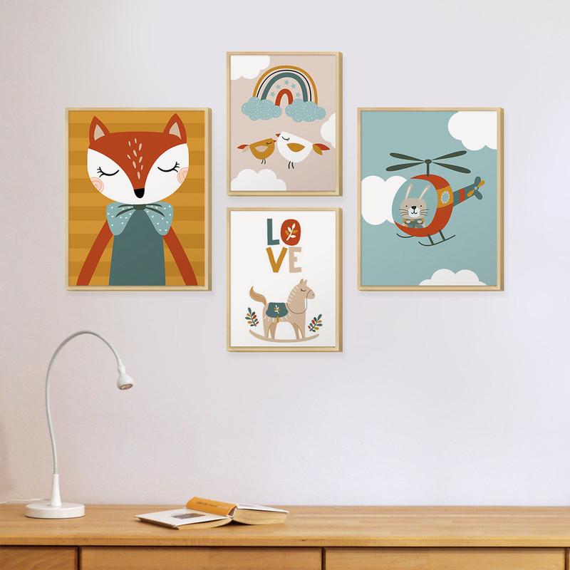Kit 4 Quadros Tema Infantil Decorativo Quarto com Moldura Caixa Animais Coloridos - Hugart