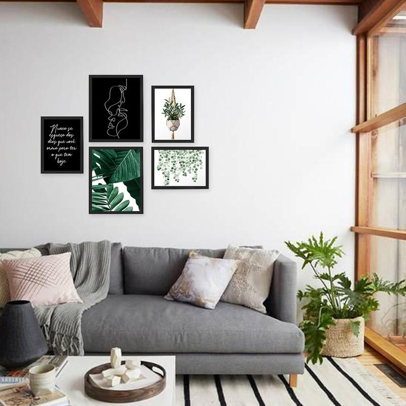 Kit 5 Quadros Decorativos de Plantas e Frases para Quarto e Sala 95x89cm - Hugart