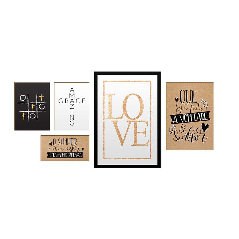 Kit 5 Quadros Decorativos Frases Love Versículo Salmos Cristão