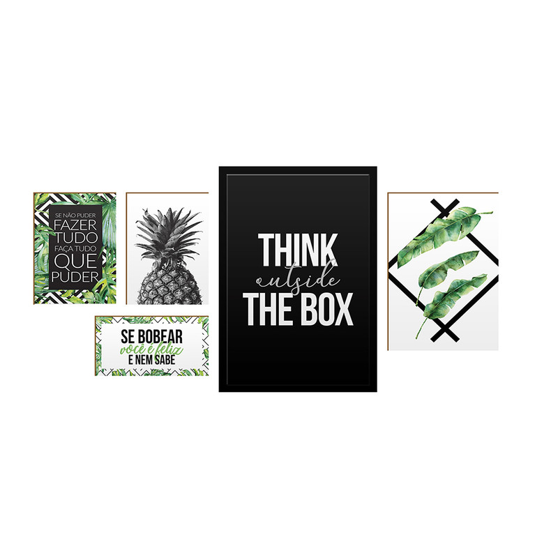 Kit 5 Quadros Decorativos Frases Motivação Inspiração Felicidade para Sala